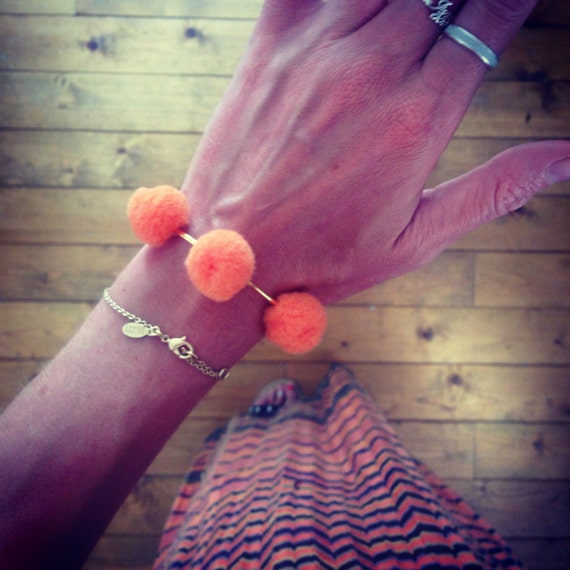 Gold Plated Orange Pom Pom Bracelet Bangle