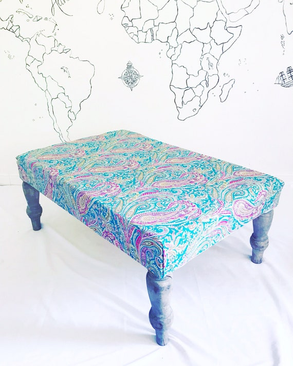 Liberty London Felix Raison Paisley Footstool Ottoman, Bespoke Made to Order with Pom Pom Tassel Trim