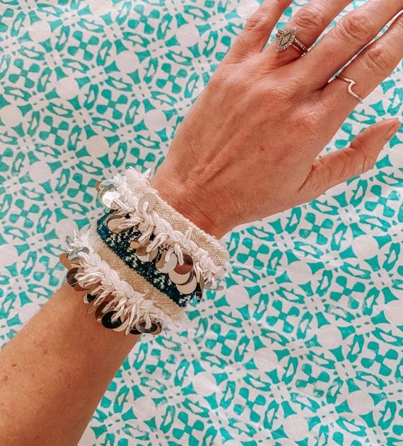 Moroccan wedding blanket bracelet bangle made with vintage green handira