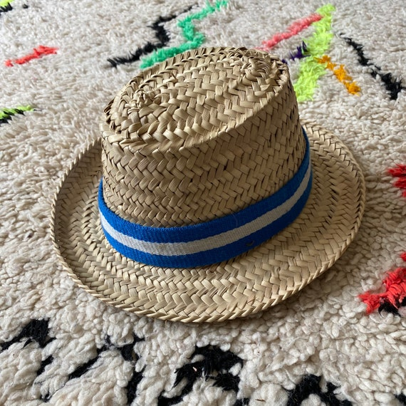 Children's kids boys girls Moroccan straw sun hat blue white stripe ribbon trim