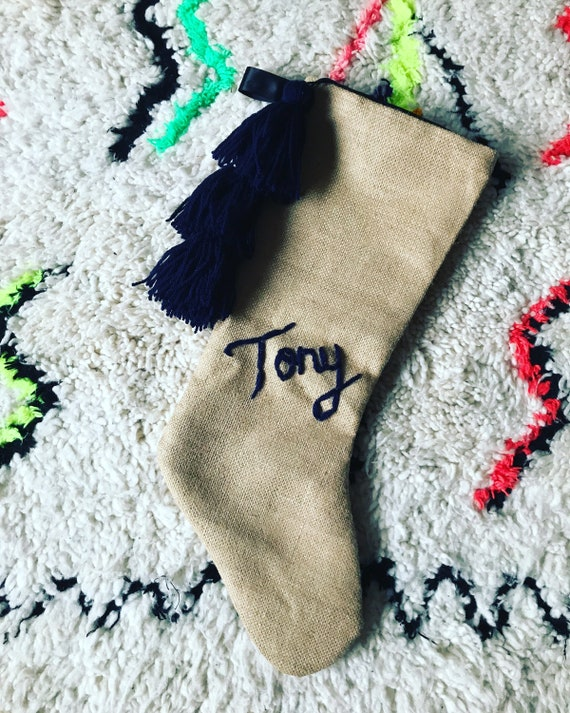 Personalised personalized custom bespoke embroidered name monogram boho black navy blue hessian Christmas stocking with tassels