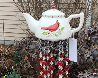 Silverplate sugar bowl creamer teapot wind chime  teapot wind chime  silverware windchime tiger eye beads