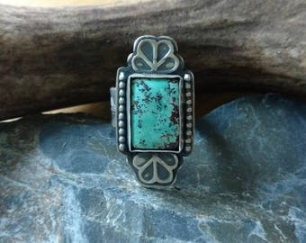 Southwestern Cuff Ready To Ship! Stamped Cuff Native American Inspired Sterling Silver Turquoise Mountain Turquoise Cuff Bracelet