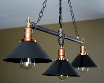 Metal Shade, Polished Copper, Black Pipe, Hanging Light, Kitchen Light, Dining Light, Industrial Style, Pipe Light, Pendant Light