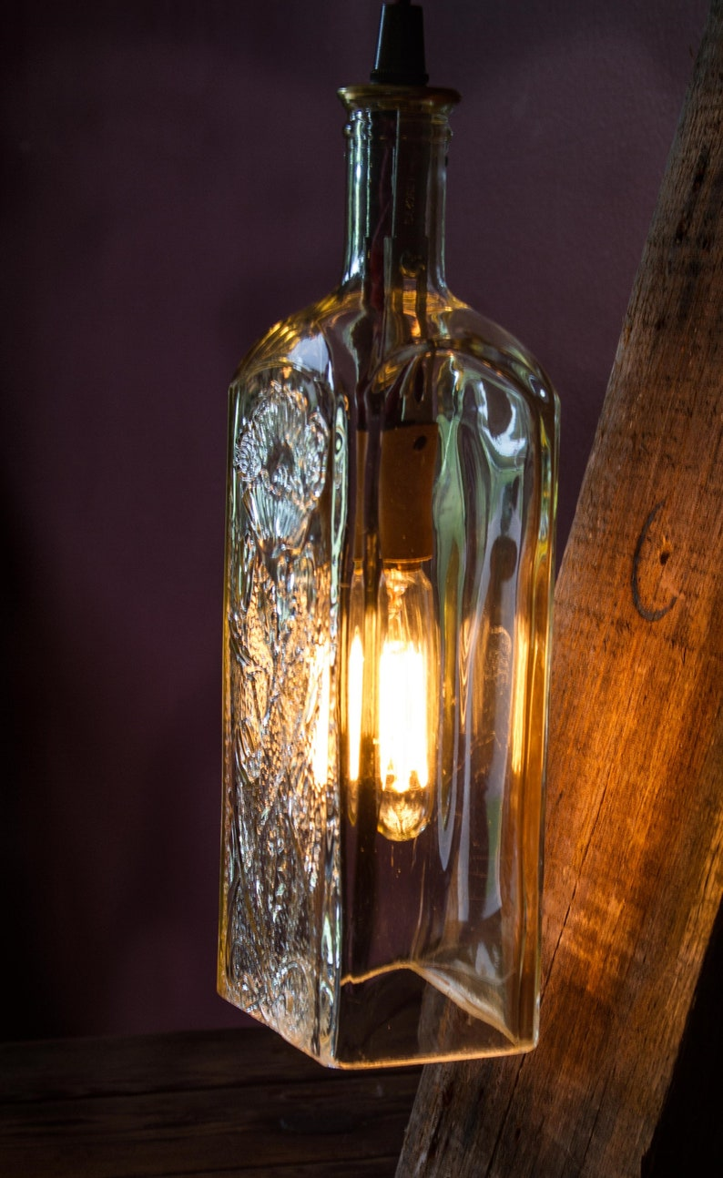 Whiskey Bottle Sconce-Wall light Fixture-Industrial Pipe Light-Rustic Home  Decor-Unique Lighting-Clear Glass Shade-Decorative Glass