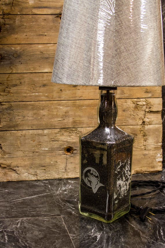 Etched Bottle Table Lamp Desk Lamp Whiskey Bottle Lamp Etched Etsy