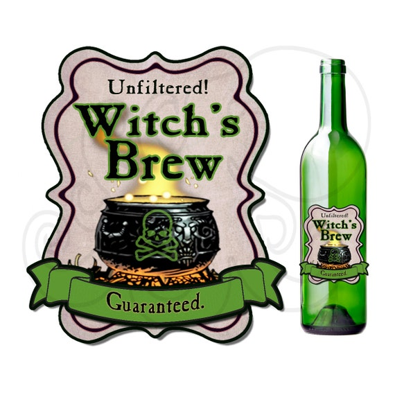 Printable Witchs Brew Poison Label Bottle