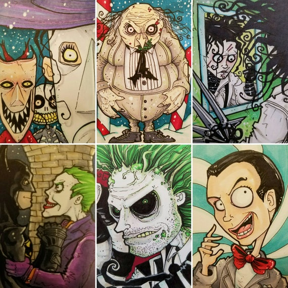 Tim Burton Sketch Cards Series 1 Various Characters Movies Etsy