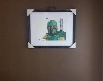 Framed art: original 11x14 colored pencil drawing of Boba Fett/Star Wars done by ARTuro
