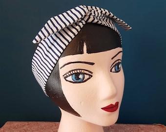 HeadBand semi rigid articulated hair twist - Nautical Navy striped stripe fabric - Blue White