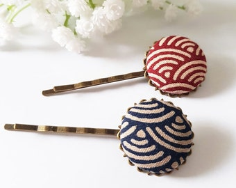 Japan Bobby Pin, Japanese Wave hair pins, Japan Fabric Chirimen Covered Button, girl teen sister gift