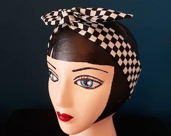 HeadBand semi rigid articulated hair twist - Checked Ska fabric - Black White