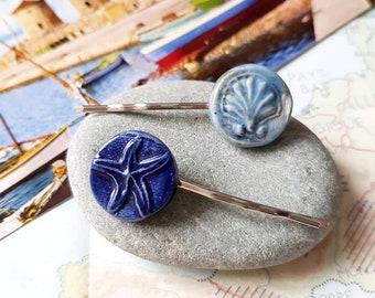 Blue Porcelain Hair pins - Scallop and Starfish