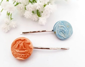 Beach Wedding, Seashell Hair pins, Boat hair grip, Beige Blue hairpins, Nautical style Upcycled vintage, Zero waste gift for her mother girl