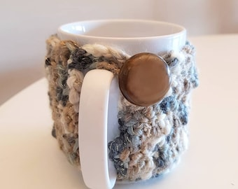 Rustic Mug cover, GREY BROWN Home accessory, French Country decor, Crochet Cozy Kitchen - Man Gift