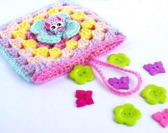 Rainbow insert bag, Girl Gift, Cute Crochet Pouch, Square organiser for bag - Tiny bag - owl button