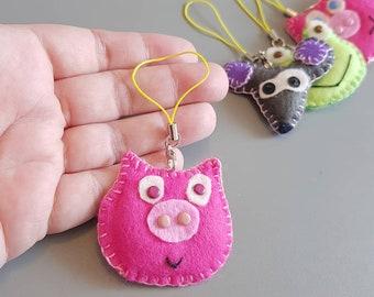 Pink Pig keychain, Kid gift, Cute soft felt present, Christmas keyring, Children gift Boy Girl