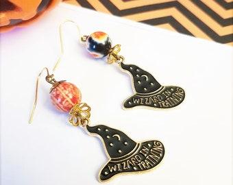 Witch earrings, Wizard in training, black magician hat, HALLOWEEN costume, sorcerer's apprentice, Black Orange jewelry