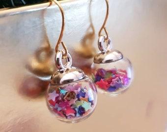 Christmas earrings, sparkling ball Ornament , cute stocking stuffer, secret santa, fun xmas