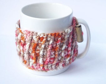 Autumn Cozy kitchen and dining, Crochet Mug cover, Thanksgiving Rustic Home, Fall Gift, Brown Orange Mug pouch