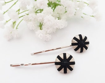 2 Hair grips, Black Star hair pins, Silver round antique button, Pin Up Rockabilly, Zero waste gift, Upcycled Repurpose Recycled