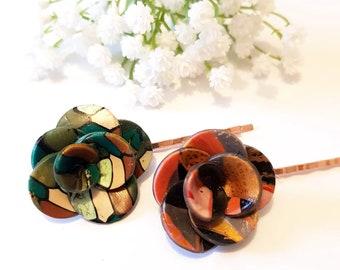 FLOWER Hair grip, Green Bronze Floral hair pin, Clay headpiece, 3d Petal Flower, Romantic Bridal, Nature, Garden, Botanical