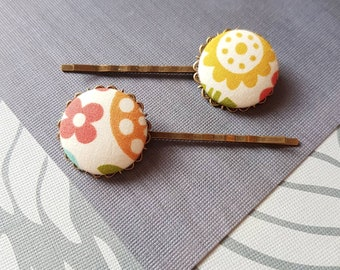 Folk art hair pin, 2 bobby pins, Floral Botanical, Mid century style, Scandinavian fabric hairpin for woman, Nordic accessories