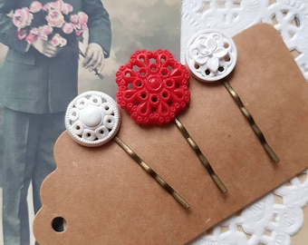 Red White antique button hair pins, retro style hairpin, set of 3, repurpose vintage buttons, Zero waste gift,  Recycled Woman accessory