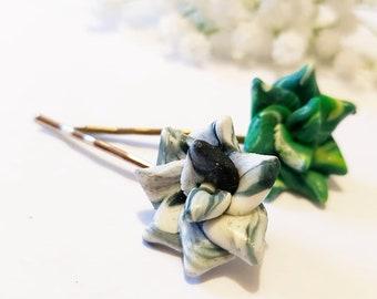 2 Succulent Hair grips, Green plant hair pins, Miniature Clay headpieces, Garden Botanical Greenery Nature garden lover giftGift