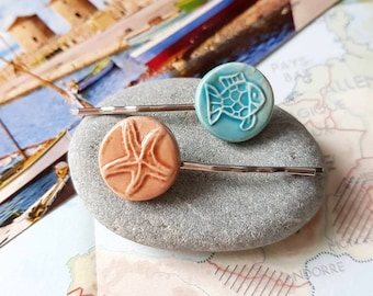 Fish and Starfish Hair pins, Blue Beige hairpins, vintage ceramic cabochon, nautical beach style, set of 2, Upcycle - Zero waste gift