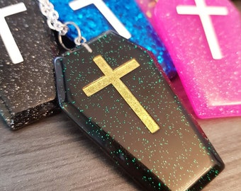 Large Glitter Coffin Pendant, widow Halloween Costume accessories, grave with cross cemetery mourning death gravestone Christian dead burial
