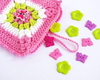 Pink Pouch Crochet - Girly Square insert organiser - Cute tiny bag - butterfly button