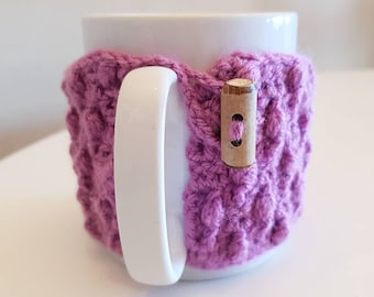 Purple French Country Mug Cover, Crochet Home decor, Rustic and Cozy Kitchen, Tea Coffee lover gift