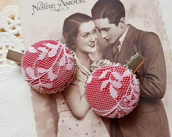 Red lace hair clip, 2 Flower Girl fabric hair clips, Large Round hair accessory, Romantic wedding hairclip