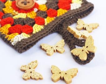 Autumn Brown Crochet Pouch, Orange Organiser for bag, Square insert, Cute present, Harvest thanksgiving hostess gift