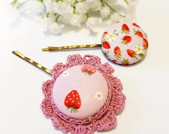 bobby pins for hair, girl kawaii clip set, strawberry gifts, hair accessory pair, large button hairpin, Pink hairstyle, Red fruit fashion