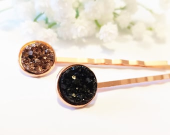Hair Grips Drusy - Set of 2 hair pins - Druzy hairpins - Trendy hair style - Resin cabochon - Autumn Thanksgiving October
