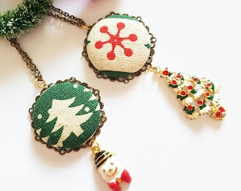 Christmas necklace, Christmas jewelry, cute stocking stuffer, secret santa, fun xmas