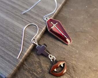 Halloween accessories, Sexy Vampire Tooth Mouth earrings with Black Hematite cross and Velvet Red coffin