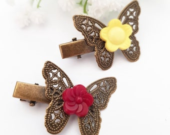2 butterfly hair clip, Girl metal hair pins, Insect hair accessory flower girls, Bronze hairclip, Fly butterflies barrette -  Color option