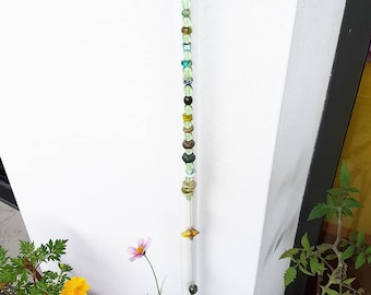 Green Home Suncatcher - Long green beaded sun catcher hanging decoration drop glass ornament