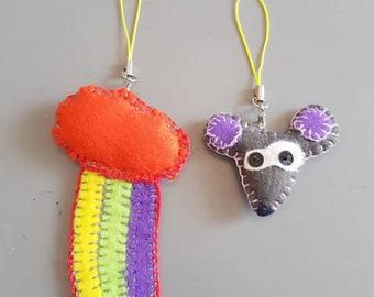 Kid keychain gift, Mouse or Rainbow Cloud, Cute soft felt present, Christmas keyring, Children gift Boy Girl