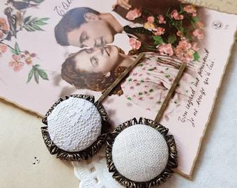 Linen lace hair pin, 2 Beige fabric hair pins, Flower girl hair accessory, Romantic wedding hairpin