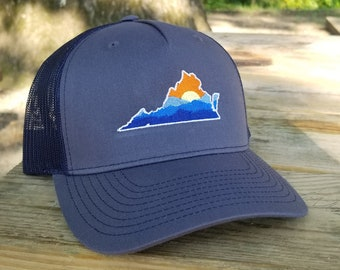 Virginia Mountains Sunset Hat (ombre blue front, navy back)