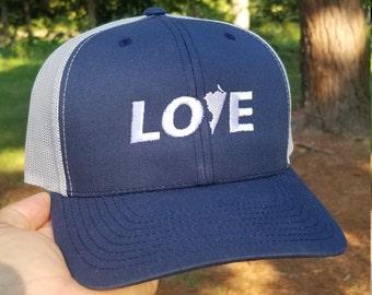 Virginia Love Hat (navy front, grey back)