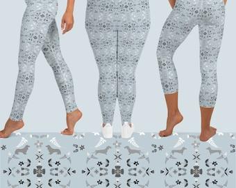 Holiday Daxie Leggings - Dachshund Leggings - Teckel Yoga Leggings - Sausage Dog Leggings - Wiener Dog Capri Leggings
