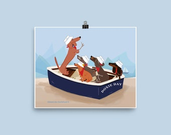 Dachshund Chorus Print - Cape Cod Chorus - Singing Wiener Dogs - Teckel Chorus Print - Suasage Dog Singers Print