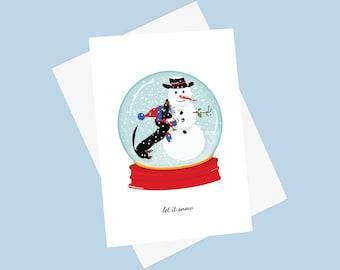 Black and Tan Doxie Snow Globe Card - Winter Dachshund Card -  Weiner Dog Card - Snowman Holiday Card