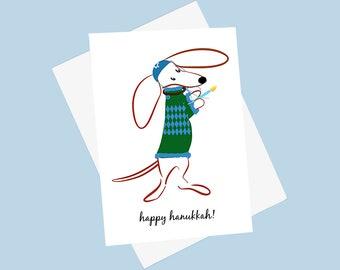 Dachshund Hanukkah Card - Doxie Hanukkah Card - Chanukah Dachshund Card - Menorah Weiner Dog Card -  Teckel Holiday Card