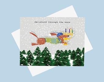 Chanukah Dachshund Through the Snow - Doxie Hanukkah Card - Chanukah Dachshund Card - Menorah Weiner Dog Card -  Teckel Holiday Card